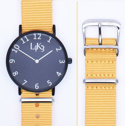 Watch - Cassa Nero Opaco - Strap Giallo