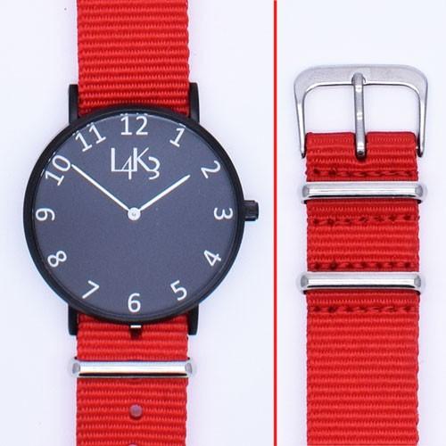 Watch - Cassa Nero Opaco - Strap Rosso
