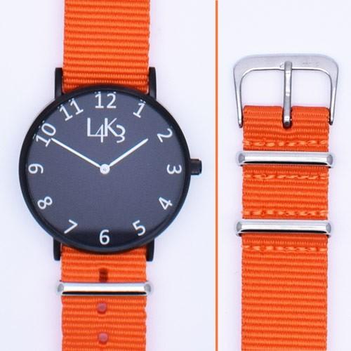 Watch - Cassa Nero Opaco - Strap Arancio Fluo