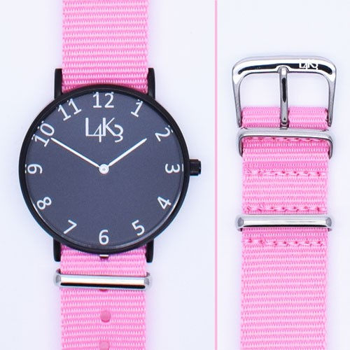 Watch - Cassa Nero Opaco - Strap Pink