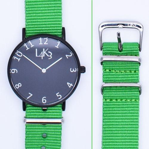 Watch - Cassa Nero Opaco - Strap Verde Fluo